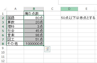 Excelでセルの内容によって色を変更する2