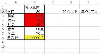 Excelでセルの内容によって色を変更する2_3