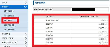 UQモバイル データ無制限プランの通信量や料金の確認方法4