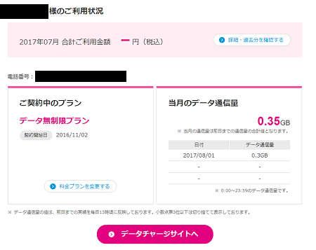 UQモバイル データ無制限プランの通信量や料金の確認方法2